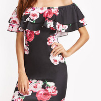 Black Off Shoulder Floral Print Double Layered Flounce Midi Dress