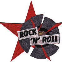 """ROCK N ROLL Record Star Iron On Embroidered Patch 3.5""""/9cm"""