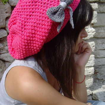 10% discount with coupon code SLAVENA Hot Pink With Grey, Gray, Bow Snood Cozy Hat Slouchy Beanie Rasta Crochet Any Colors READY tO SHIP