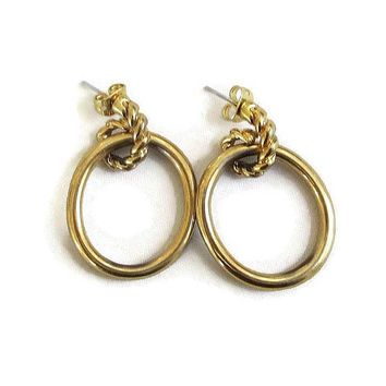 Twisted Rope Hoop Dangle Earrings Vintage