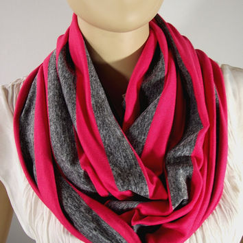 Coral Infinity Scarf...Striped Scarf....Gray Scarf...Cotton Jersey Scarf....Circle scarf...Loop Scarf...Nomad Cowl