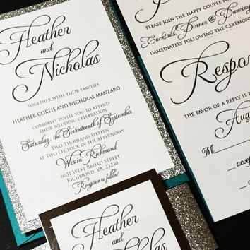 Teal and Silver Glitter Wedding Invitation, Calligraphy Wedding Invitation, Modern Wedding Invitation - HEATHER VERSION
