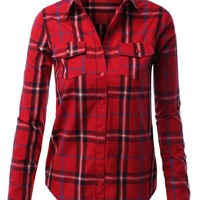 LE3NO Womens Lightweight Plaid Button Down Shirt with Two Pockets