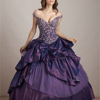 Off-the-shoulder Ball Gown Low V-neck Embroidery Layered Purple Floor-length Prom Dress PD0603