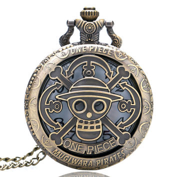 One Piece Theme Skull Pattern Pocket Watch Quartz Watch for Men Women Gift Free Shipping P321