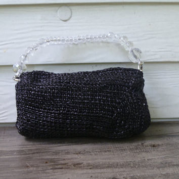 Vintage Style Crochet Black Purse/Handbag