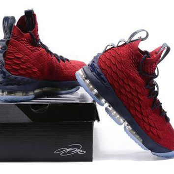 DCCK Nike LeBron 15 XV Red/Navy Basketball Shoe