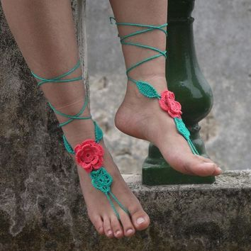Applique Paisley Flower Crochet Barefoot Sandals Nude Shoes Foot Hippie Jewelry Victorian Lace Sexy Anklet Boho Accessorie