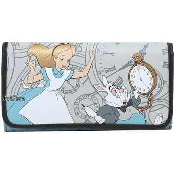 Licensed cool Disney Alice In Wonderland Clocks White Rabbit  Ladies Trifold Flap Wallet New
