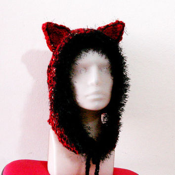 Hand Knit Hat Womens,  Burgundy Animal Ear Hoodie for adults, red cat hat