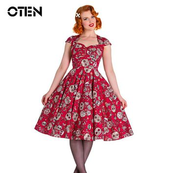 OTEN Summer skater dress elegant Vintage Red Ball Gown Sugar Skulls Flower print 50s rockabilly Evening Party large size Clothes