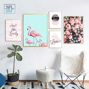 SPLSPL Nordic Flamingo Flower Wall Pictures Canvas Art Prints Posters And Painting For Wedding Room Decoration Unframed