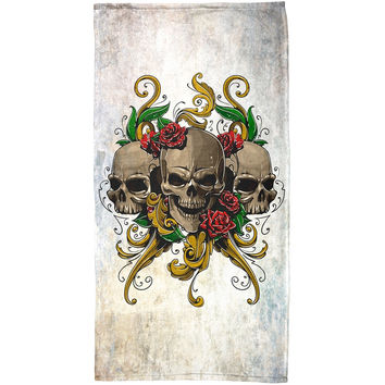 Skulls and Roses Metal Tattoo All Over Beach Towel