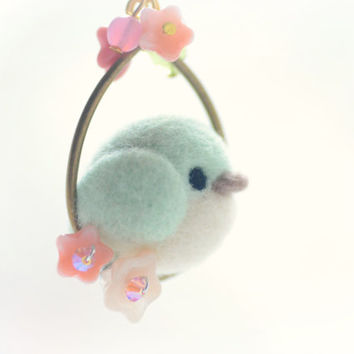 Handmade needle felt bird pendant, soft sculpture wool mint color bird on flower hoop necklace, whimsical jewelry, gift under 25