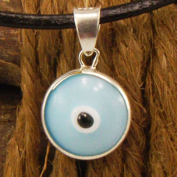 Modern Light Blue Evil Eye Necklace Greek Mati Hamsa Nazar 925 Sterling Silver Pendant Charm in Genuine Leather Necklace