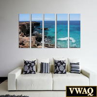 Ocean Cliff Canvas Print 5 Panel Pieces Seascape Wall Art VWAQ-O31