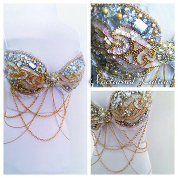 Gold/White Rave Bra