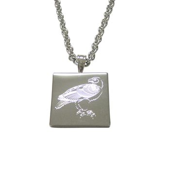 Silver Toned Etched Eagle Bird Pendant Necklace