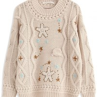 Sweet Star Cable Knit Sweater - OASAP.com