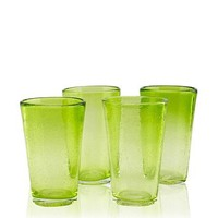 Global Amici - Set of 4 Salute Highballs - Green Mouth Blown Bubble Glass