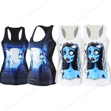 Corpse Bride Running Yoga Shirt Women Sleeveless Fitness Sports T-Shirts Summer Loose Relaxed Gym Running Tank Tops Quick Drying