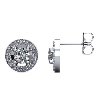 1 CTW Diamond Halo-Styled Stud Earrings in 14kt White Gold