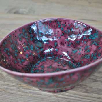 Raspberry Decorative Ceramic Bowl, Handmade Pottery, Oval Decorative Serving Dish, Home Decor