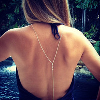 Fashion Simple Sexy Silver Beach Bikini Rhinestone Back Body Chain Necklace for Women Jewelry