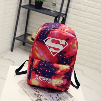 BONAMIE Night Light Cool Backpack Superman Backpacks Luminous School Bags For Teenager Girls Boys Book Bag Starry Sky Backpack