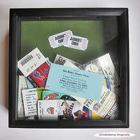 Admit One Ticket Collection Shadow Box - Black - Drop Slot - Memory Box - Sage Green Background