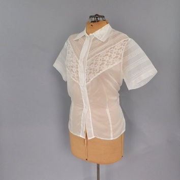 Vintage 1950's Glenwear Sheer Blouse Sweet Ivory White 50's Shirt Medium Large Lace Embroidered Nylon Blouse Mad Men Rockabilly School Girl