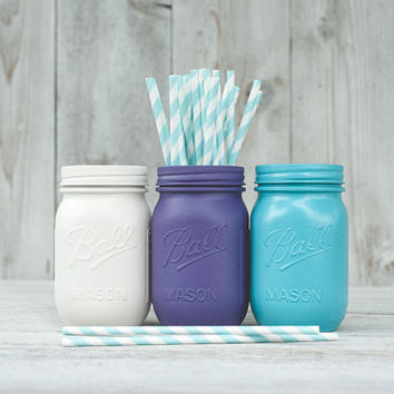 3 Painted mason jars. Wedding centerpieces, pink and purple decor. Pen holder, pencil holder, dorm organizer. Easter decor.