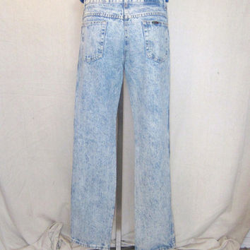 Vintage 80s ACID WASHED DENIM Waist 31-32 Long Stylish Trendy Cotton Amazing Jeans