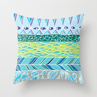 White Water Throw Pillow by Catherine Holcombe | Society6