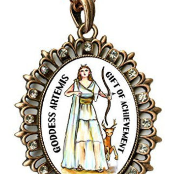 "Goddess Artemis Gift of Achievement Huge 2 1/2"" Antique Copper Medallion Rhinestone Pendant"