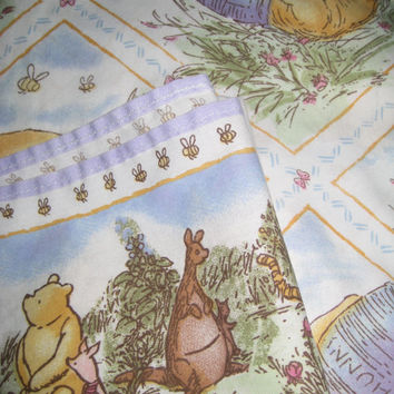 Winnie the Pooh Classic Disney TWIN Size Bedding Sheet Set 3 Piece Flat Fitted Pillowcase Craft Fabric Used Clean Kid Girl Bed