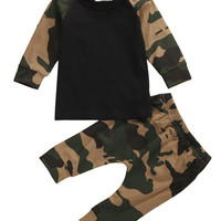 Newborn baby  2016 Spring Autumn Clothes Baby Boys Camouflage T-shirt Top+Pants Leggings Outfit Set
