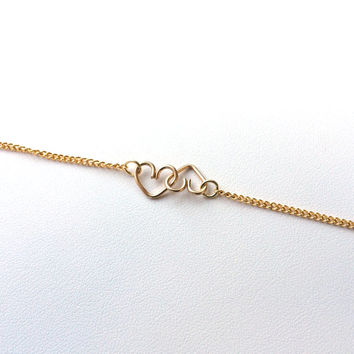 Two Hearts Joined Together Bracelet // Silver // Gold // Copper // Love // Heart