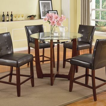 "Acme 77815-07055 5 pc Baldwin walnut finish wood 45"" round glass top counter height dining table set"