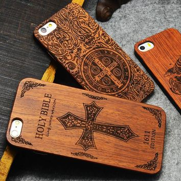 Retro Wood Phone Cases For iPhone 7 6 6s Plus 5 5s SE Case Luxury Carving Skull Embossed Nature Genuine Wooden Cover Shell Funda