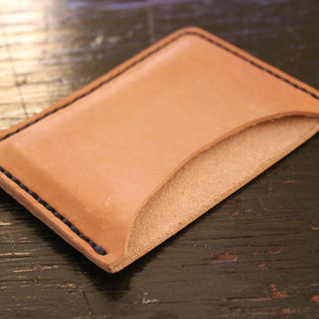 Handcrafted  Single Slot Slim Sleek Handstitched Leather Wallet