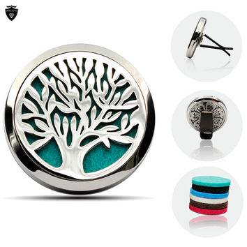 Fashion Tree of Life 38MM Magnetic Essential Oil Diffuser Locket Car Hollow Diffuser Locket Round Car Locket With 6pcs pads