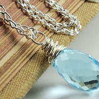 Swiss Blue Topaz Necklace in Sterling Silver by DasheDesigns