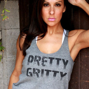Pretty Gritty. Eco-Heather Workout Tank. Size LARGE.