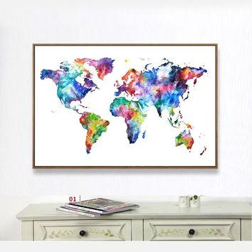 Unframed Colorful Map of The World In English  Painting Sofa Background HD Picture Canvas Painting for Home Decor