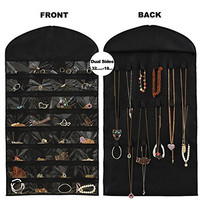 RaytyeStore Jewelry Hanging Organizer Non-Woven Holder Dual Sides 32 pockets 18 hook and loops - Black