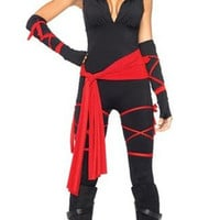 Sexy Deadly Ninja Warrior Costume Fancy Party Dress Set Halloween Woman Adult = 1932090244