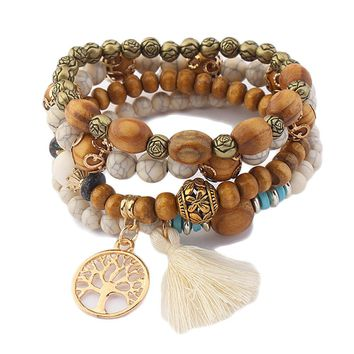 Beautiful 4 Layers Beaded Wood BOHO Stretch Bracelets with Tree of Life and Ivory Tassel Accents