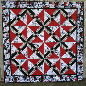 Red and Black Lap Quit - Quilt in Red and Black Music Prints, bold, Jazz, Wall hanging, home decor