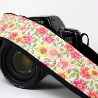 dSLR Camera Strap, Pink, Coral, Yellow, Floral, SLR